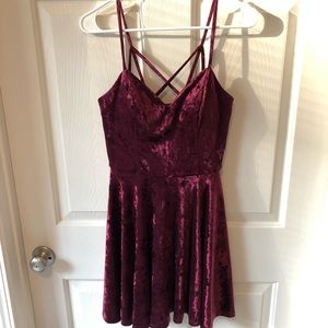 Burgundy Crushed Velvet Party Dress